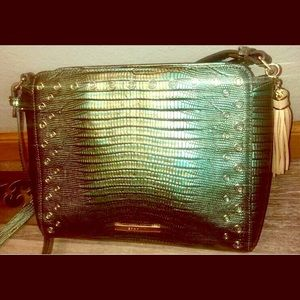 Brahmin Emerald Moa Crossbody Lizard Leather